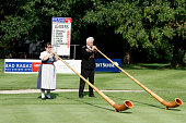 Traditional swiss alphorns played on the 18th green after the second round of the Bad Ragaz PGA Seniors Open played at Golf Club Bad Ragaz on July 2...