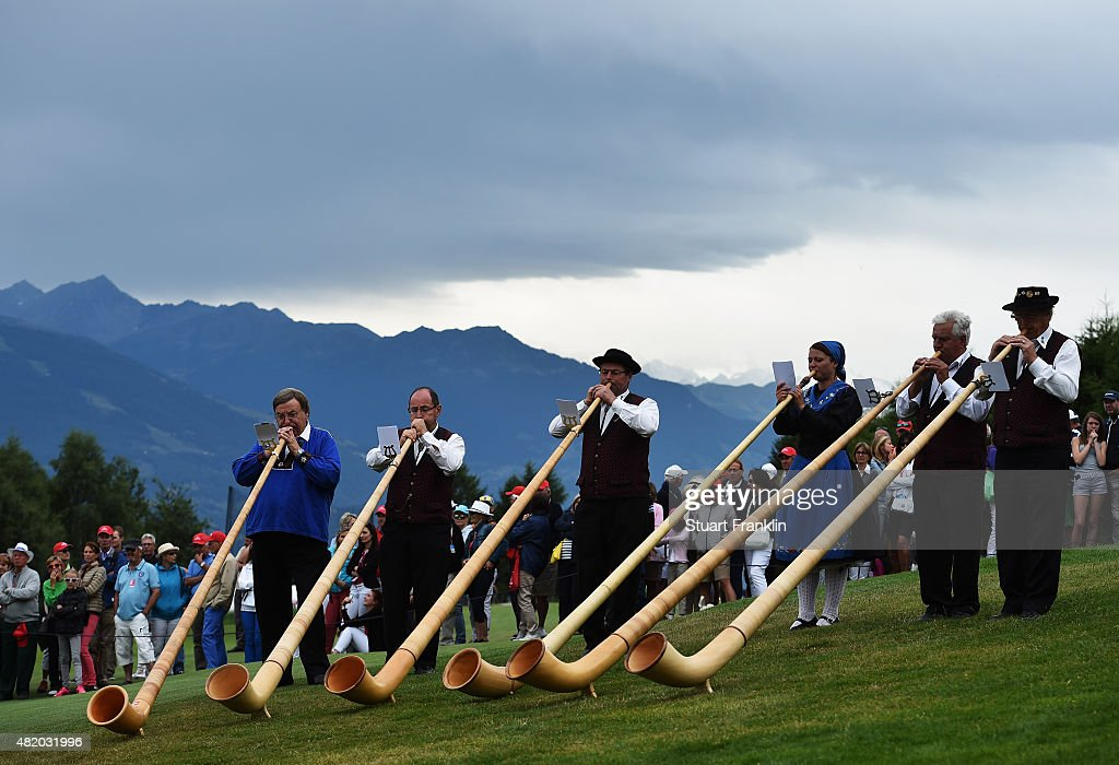Traditional Swiss horn blowers after the final round of the Omega European Masters at CranssurSierre Golf Club on July 26 2015 in CransMontana...