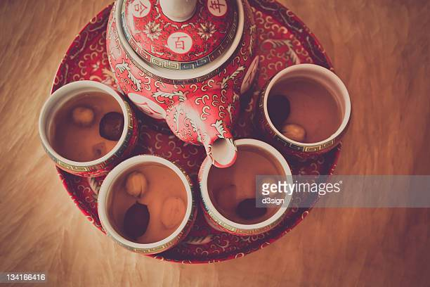 Traditional tea set in Chinese wedding ceremony