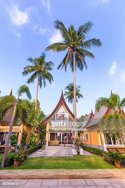 Traditional Thai house modern architecture near the beach in Thailand.