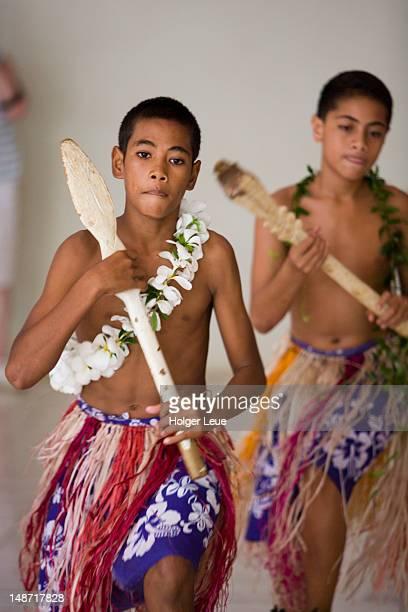 Traditional Tongan dance at cultural performance.