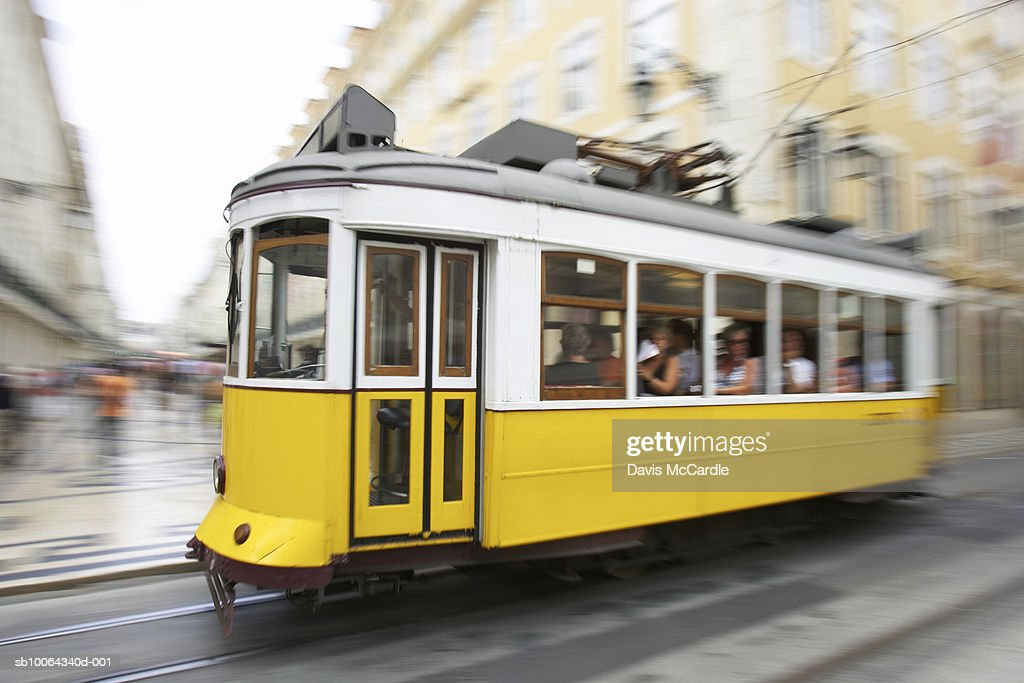 Traditional tram in Lisbon's Baixa district : Stock Photo