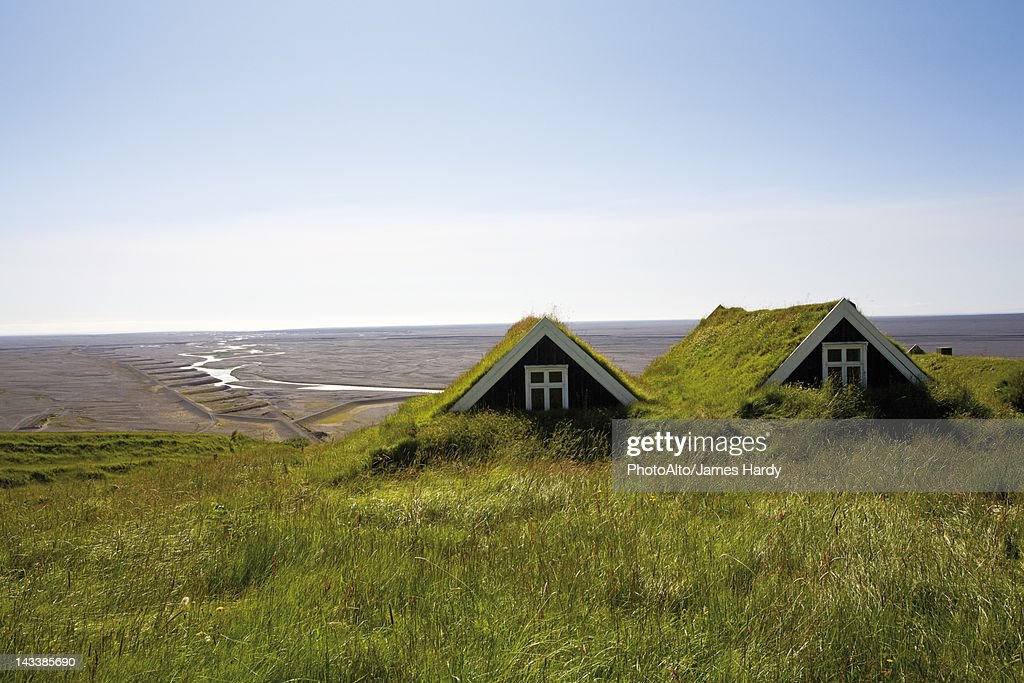 Traditional turf houses, Skaftafell National Park, Iceland : Stock Photo