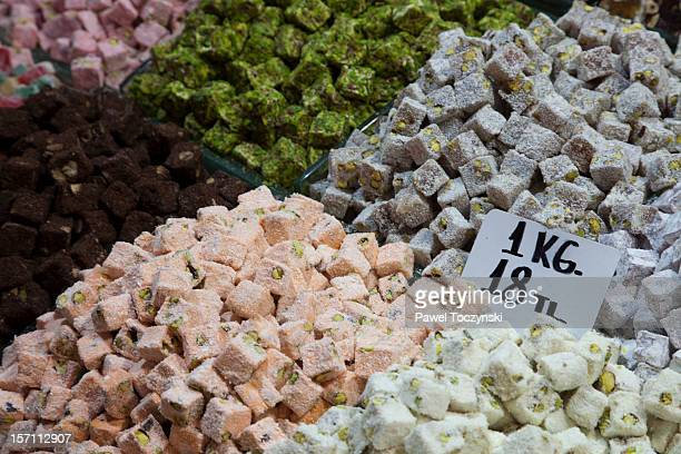 Traditional Turkish delights on a local market