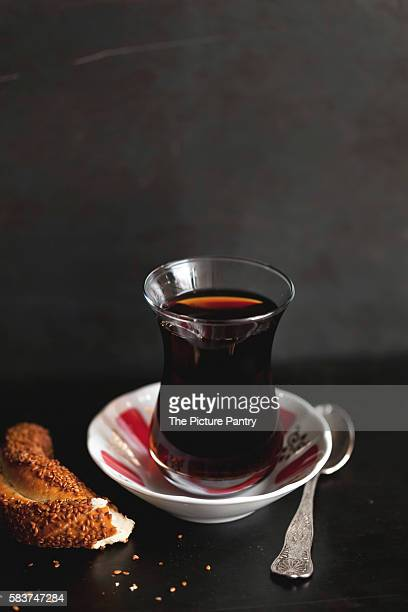 Traditional Turkish tea and simit bread