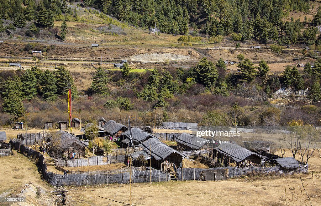 Traditional village and houses near the Temple of Kurjey Lhakhang near Jakar on November 18, 2012 in Bumthang, Bhutan.