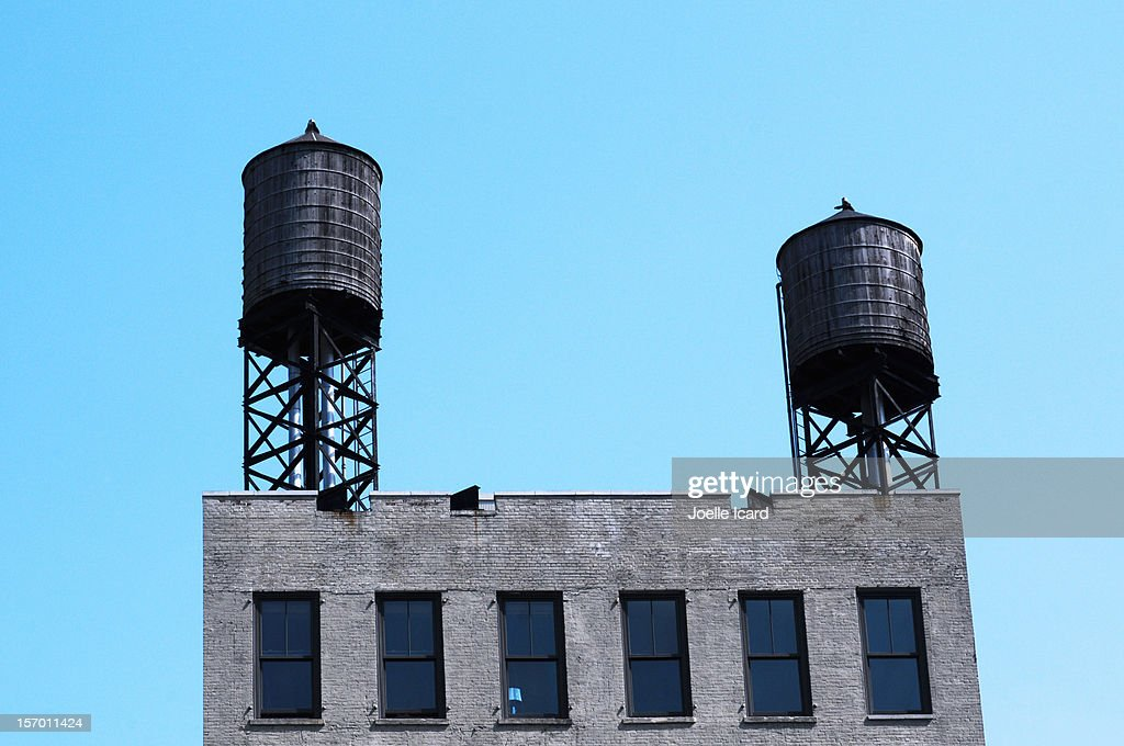 Traditional water tanks in Manhattan
