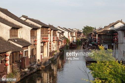 Traditional waterfront houses on river, Suzhou, Jiangsu Province, China