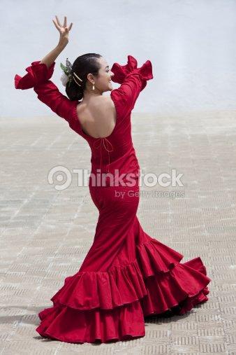 d01c6f732 Bailarina Española El Flamenco Tradicional De Mujer En Vestido Rojo ...