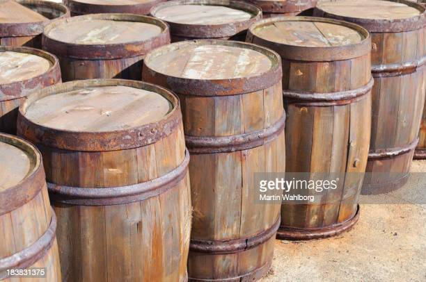 Traditional wooden barrels