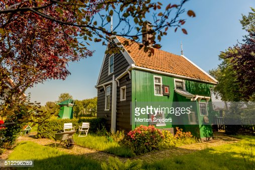 traditional wooden dutch house zaanse schans stock photo
