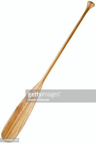 A traditional wooden rowing boat oar