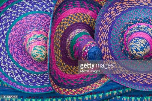 traditional woven sombrero hats  : Stock Photo