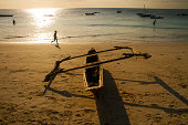 Traditional Zanzibar Boat on Beach