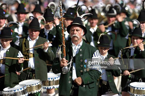 A traditionally bavarian dressed marching band participates at the Costume and Riflemen's Parade on September 2007 in Munich Germany The costume and...