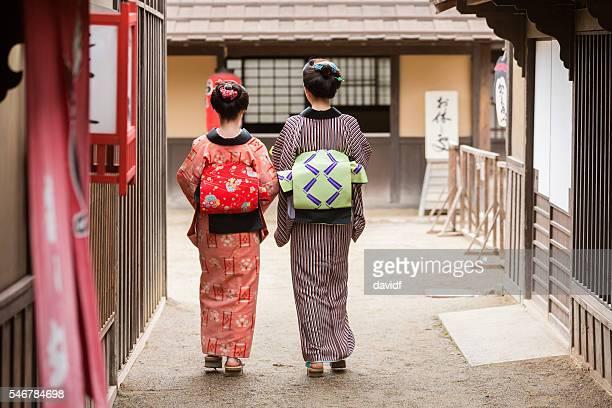 Traditionally Dressed Japanese Women in Kimonos Walking