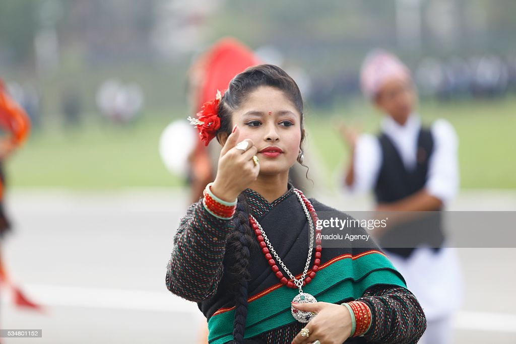 Traditionally dressed Nepalese people march during the 9th Republic Day parade in Kathmandu, Nepal on May 28, 2016.