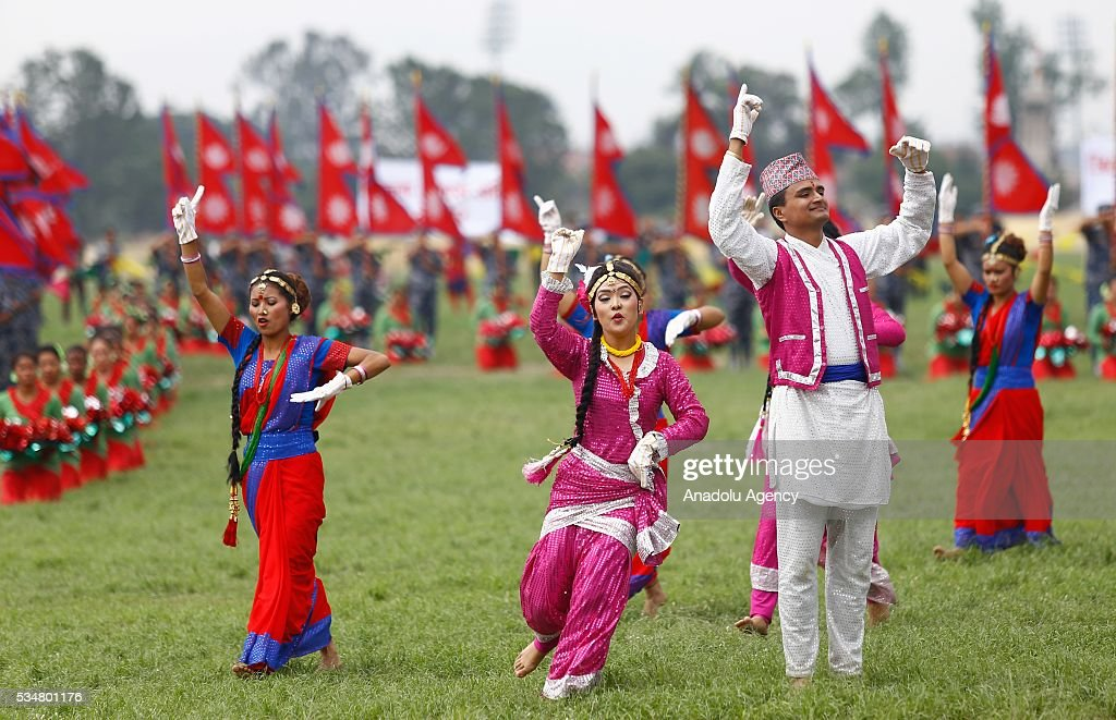 Traditionally dressed Nepalese people perform during the 9th Republic Day parade in Kathmandu, Nepal on May 28, 2016.