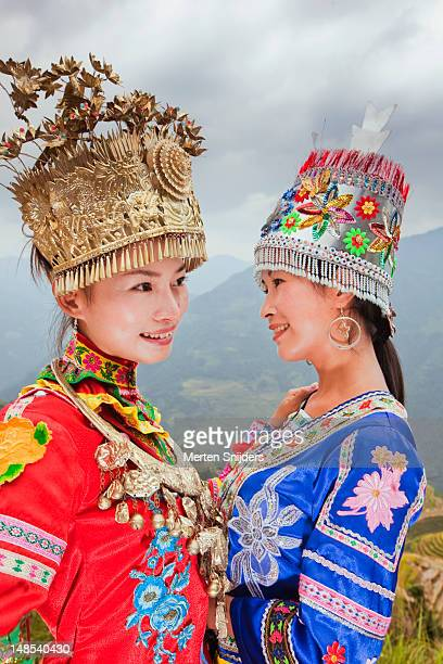 Traditionally dressed young chinese women at Longji Terrace.