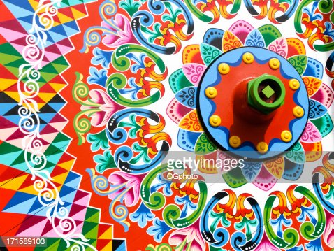 Traditionally painted ox cart wheel