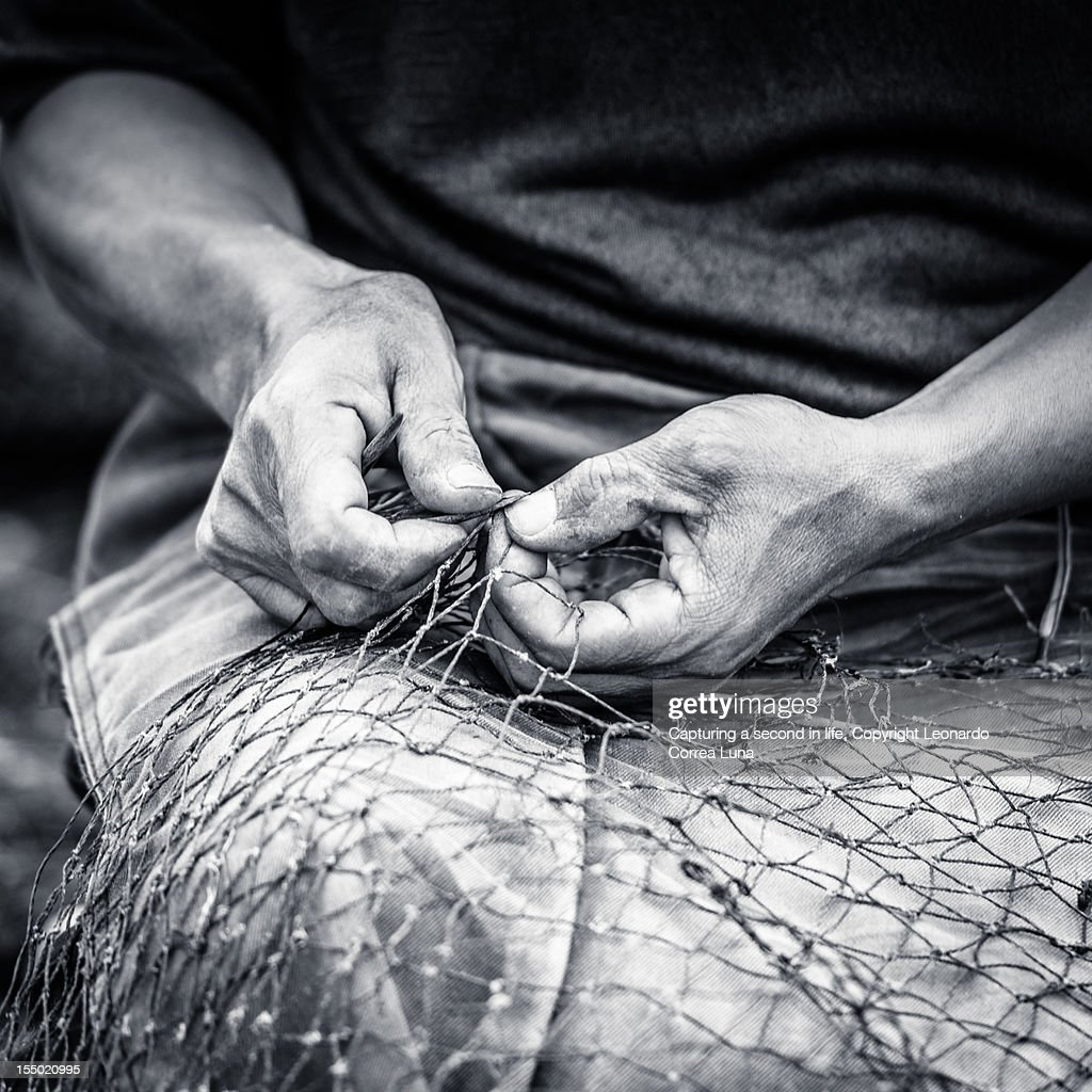 Traditions, strong Chinese fisherman hands