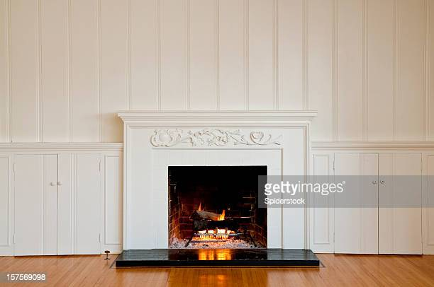 Traditonal Fireplace In Empty Room