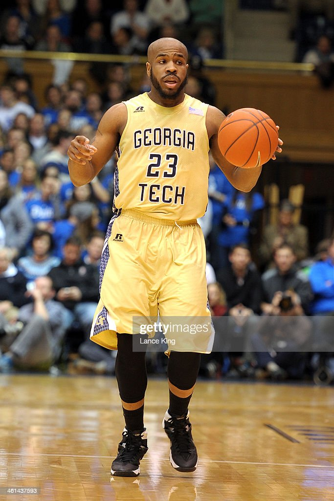 Trae Golden #23 of the Georgia Tech Yellow Jackets dribbles against the Duke Blue Devils at Cameron Indoor Stadium on January 7, 2014 in Durham, North Carolina. Duke defeated Georgia Tech 79-57.