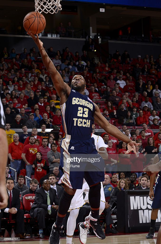 Trae Golden #23 of the Georgia Tech Yellow Jackets drives to the hoop against the Maryland Terrapins at the Comcast Center on January 4, 2014 in College Park, Maryland.