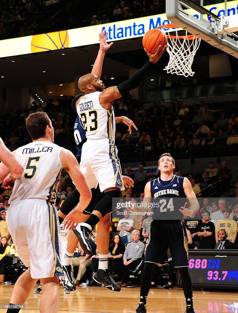 Trae Golden #23 of the Georgia Tech Yellow Jackets puts up a shot against the Notre Dame Fighting Irish at McCamish Pavilion on January 11, 2014 in Atlanta, Georgia. Photo by Scott Cunningham/Getty Images)