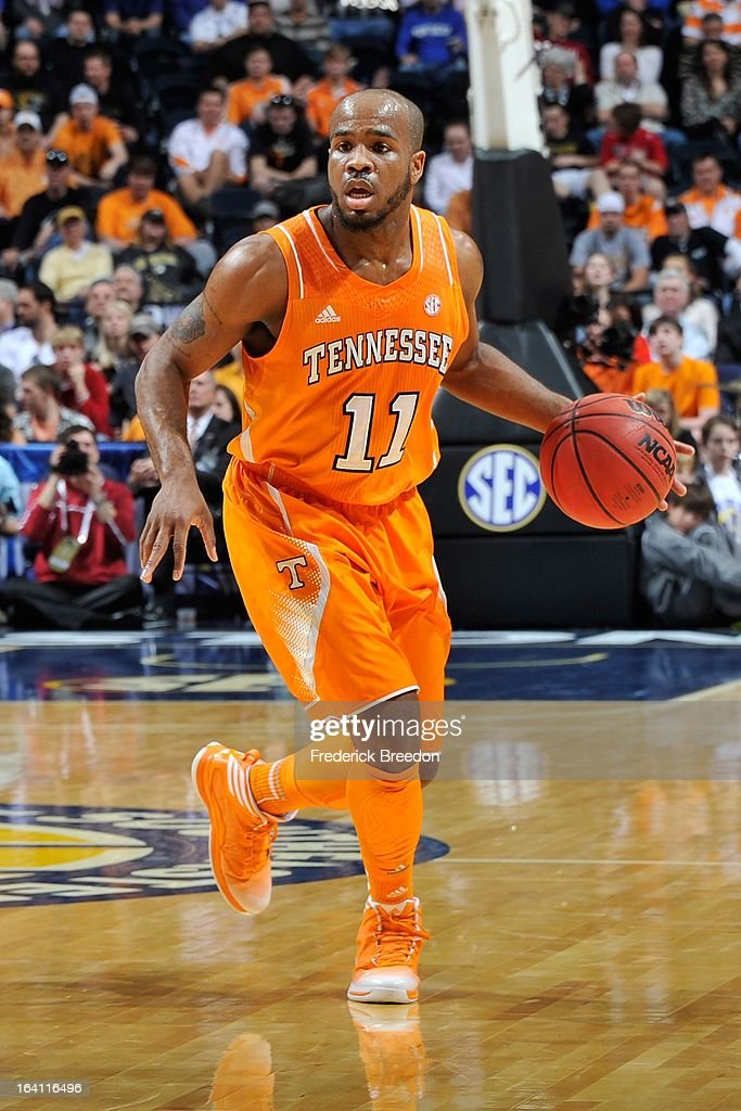 Trae Golden #11 of the University of Tennessee Volunteers plays against the Alabama Crimson Tide during the Quarterfinals of the SEC Tournament at the Bridgestone Arena on March 15, 2013 in Nashville, Tennessee.