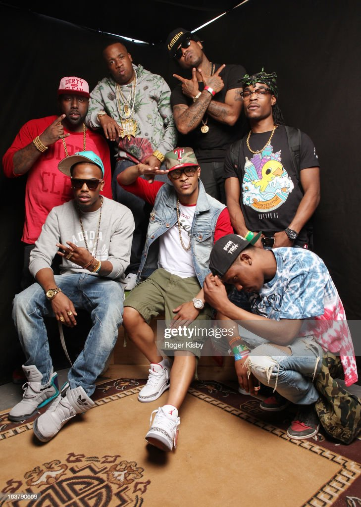 Trae the Truth, B.O.B., Yo Gotti, T.I., Problem, Travis $cott and Rashad da God pose for a portrait backstage at The Fader Fort presented by Converse during SXSW on March 15, 2013 in Austin, Texas.