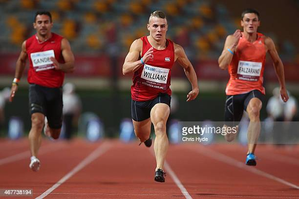 Trae Williams runs in the Mens 100m Open Prelims during the Australian Athletics Championships at the Queensland Sports and Athletics Centre on March...
