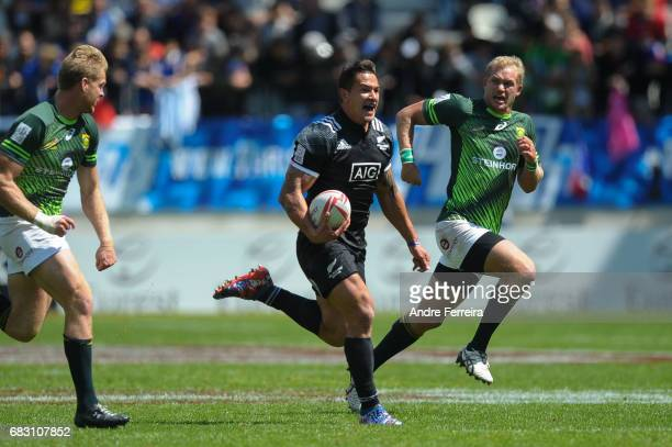 Trael Joass of New Zealand during the match between South Africa and New Zealand at the HSBC Paris Sevens stage of the Rugby Sevens World Series on...