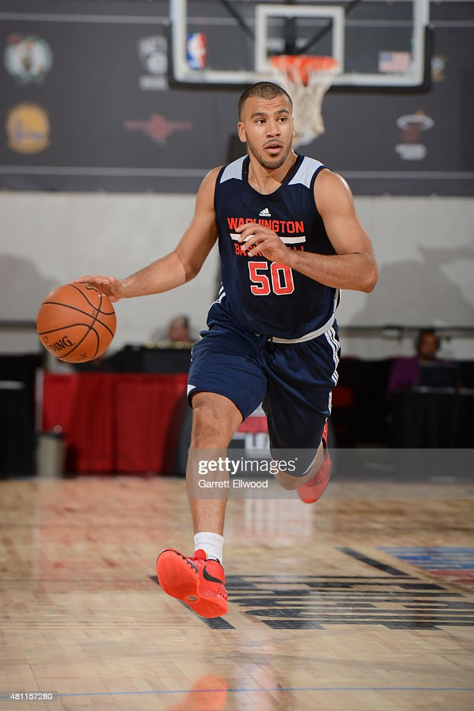 Traevon Jackson of the Washington Wizards dribbles the ball against the Denver Nuggets on July 17 2015 at Cox Pavilion in Las Vegas Nevada NOTE TO...