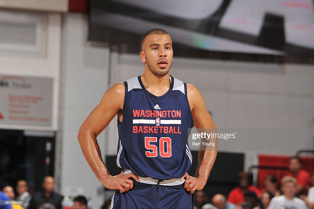 Traevon Jackson of the Washington Wizards looks on during the game against the New Orleans Pelicans on July 16 2015 at The Cox Pavilion in Las Vegas...