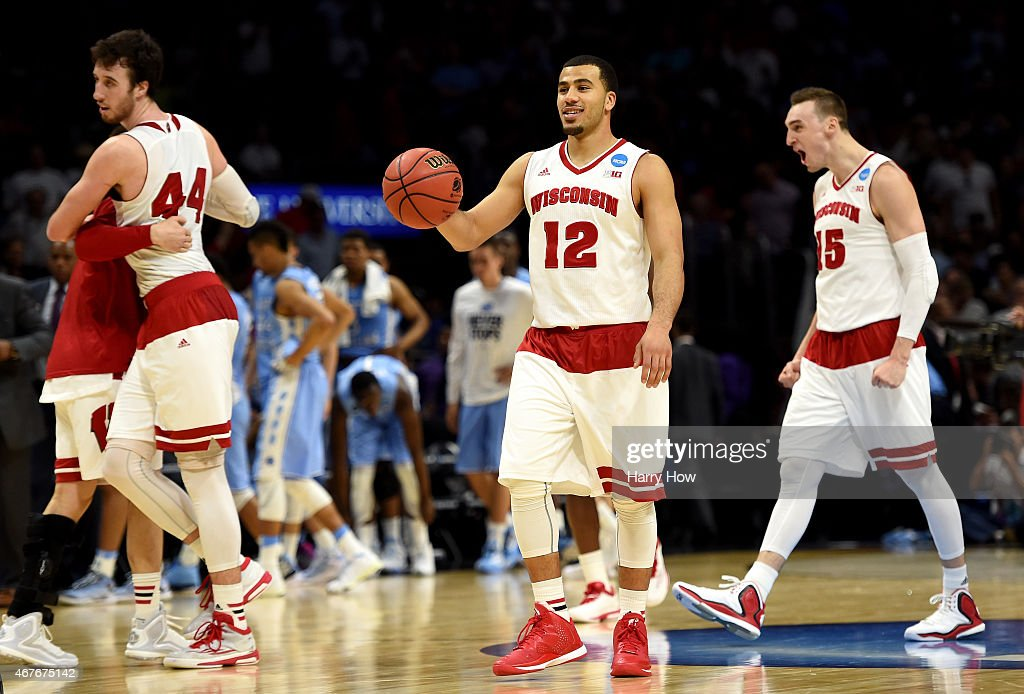 Traevon Jackson of the Wisconsin Badgers celebrates after the Badgers 7972 victory against the North Carolina Tar Heels during the West Regional...