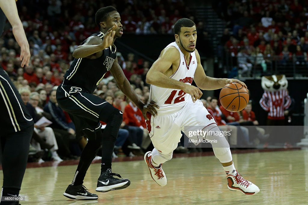 Traevon Jackson of the Wisconsin Badgers dribbles into the lane during the game against the Purdue Boilermakers at Kohl Center on January 07 2015 in...