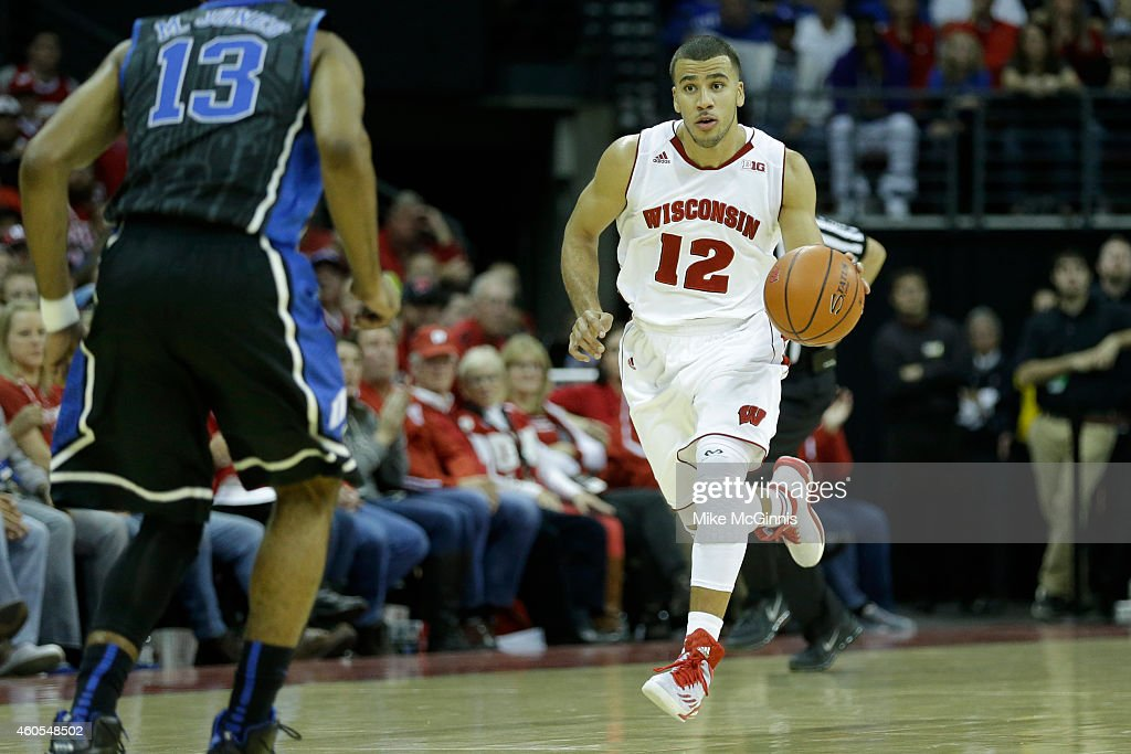 Traevon Jackson of the Wisconsin Badgers dribbles the basketball up the court during the game against the Duke Blue Devils at Kohl Center on December...