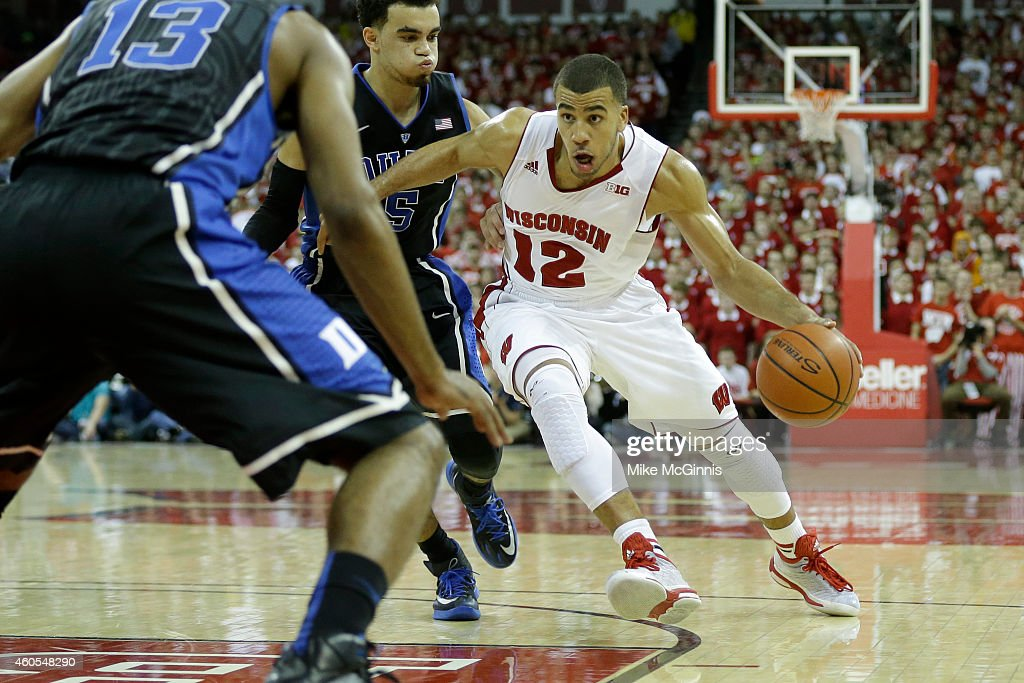 Traevon Jackson of the Wisconsin Badgers drives into the lane during the game against the Duke Blue Devils at Kohl Center on December 03 2014 in...