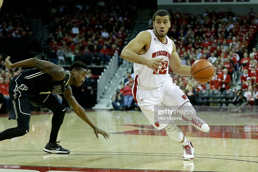 Traevon Jackson of the Wisconsin Badgers drives into the lane during the second half against the Purdue Boilermakers at Kohl Center on January 07...