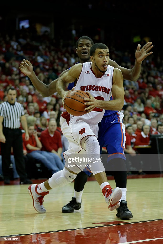 Traevon Jackson of the Wisconsin Badgers drives to the hoop during the game against the Boise State Broncos at Kohl Center on November 22 2014 in...
