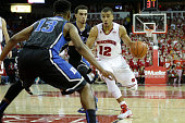 Traevon Jackson of the Wisconsin Badgers drives to the hoop during the second half against the Duke Blue Devils at Kohl Center on December 03 2014 in...