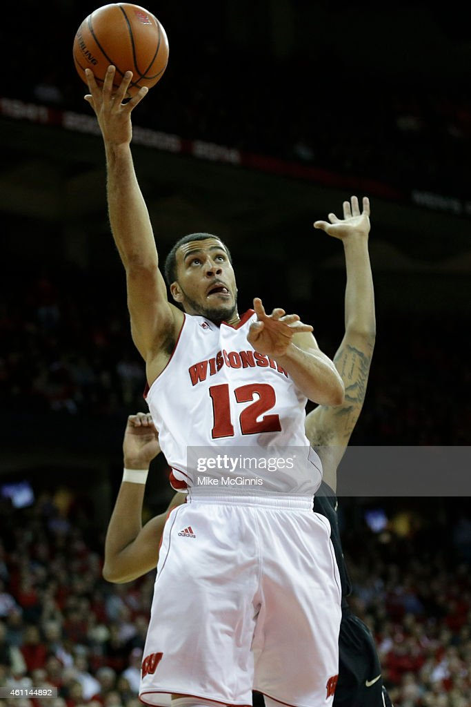 Traevon Jackson of the Wisconsin Badgers drives to the hoop during the second half against the Purdue Boilermakers at Kohl Center on January 07 2015...
