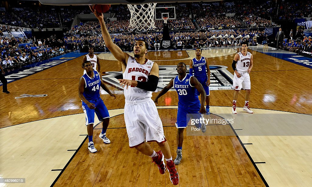 Traevon Jackson of the Wisconsin Badgers goes to the basket against the Kentucky Wildcats during the NCAA Men's Final Four Semifinal at ATT Stadium...
