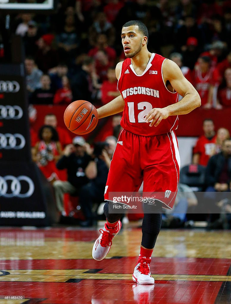 Traevon Jackson of the Wisconsin Badgers in action against the Rutgers Scarlet Knights during the first half of a college basketball game at the...