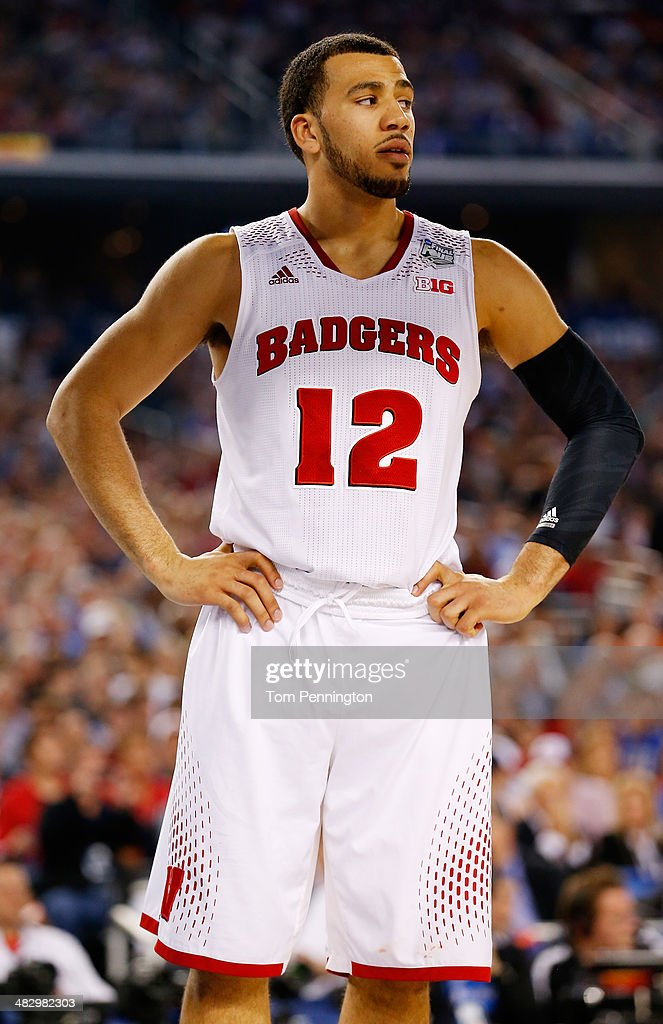 Traevon Jackson of the Wisconsin Badgers looks on during the NCAA Men's Final Four Semifinal against the Kentucky Wildcats at ATT Stadium on April 5...
