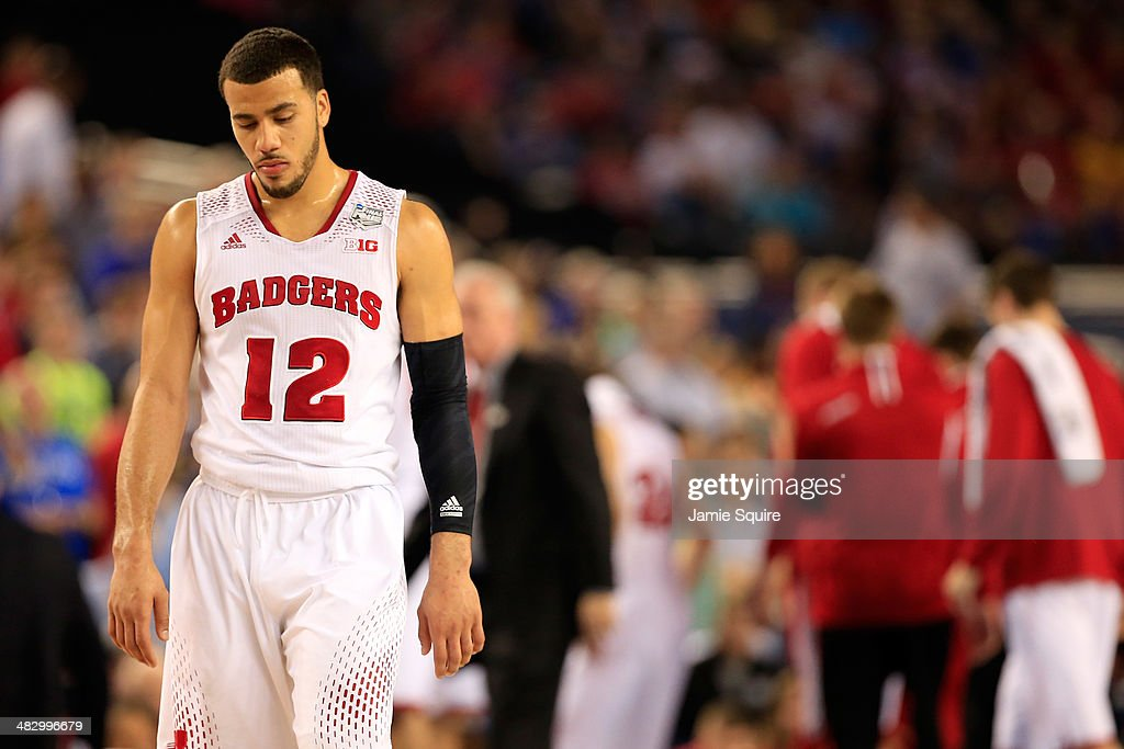 Traevon Jackson of the Wisconsin Badgers reacts during the NCAA Men's Final Four Semifinal against the Kentucky Wildcats at ATT Stadium on April 5...