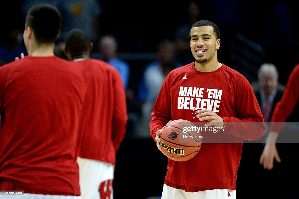 Traevon Jackson of the Wisconsin Badgers smiles before taking on the North Carolina Tar Heels in the West Regional Semifinal of the 2015 NCAA Men's...
