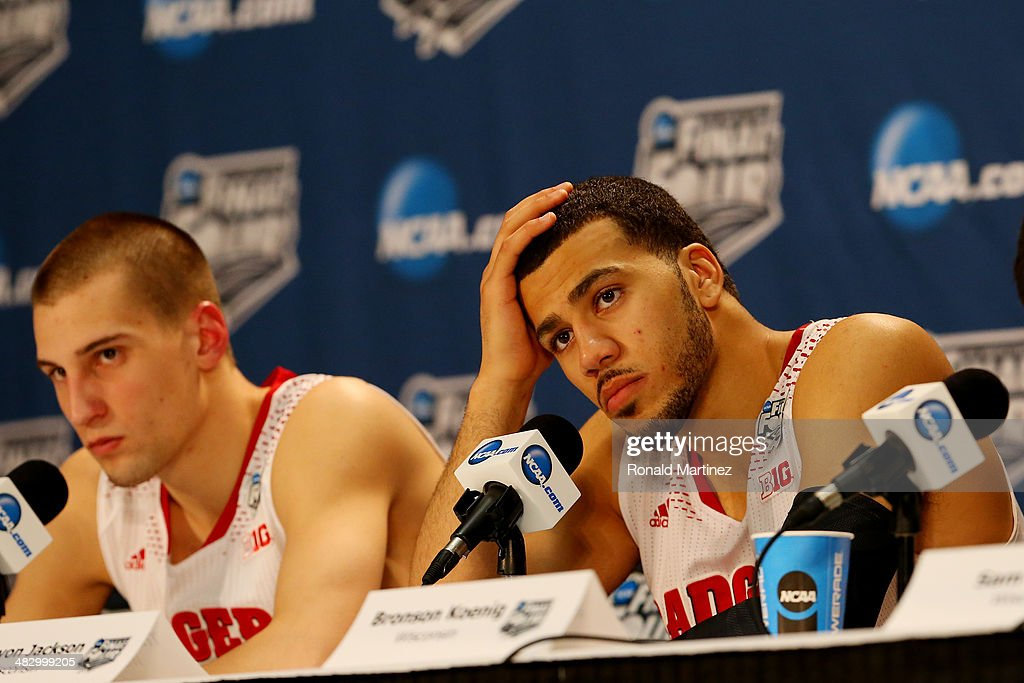 Traevon Jackson of the Wisconsin Badgers speaks to the media after losing to the Kentucky Wildcats 7473 in the NCAA Men's Final Four Semifinal at ATT...