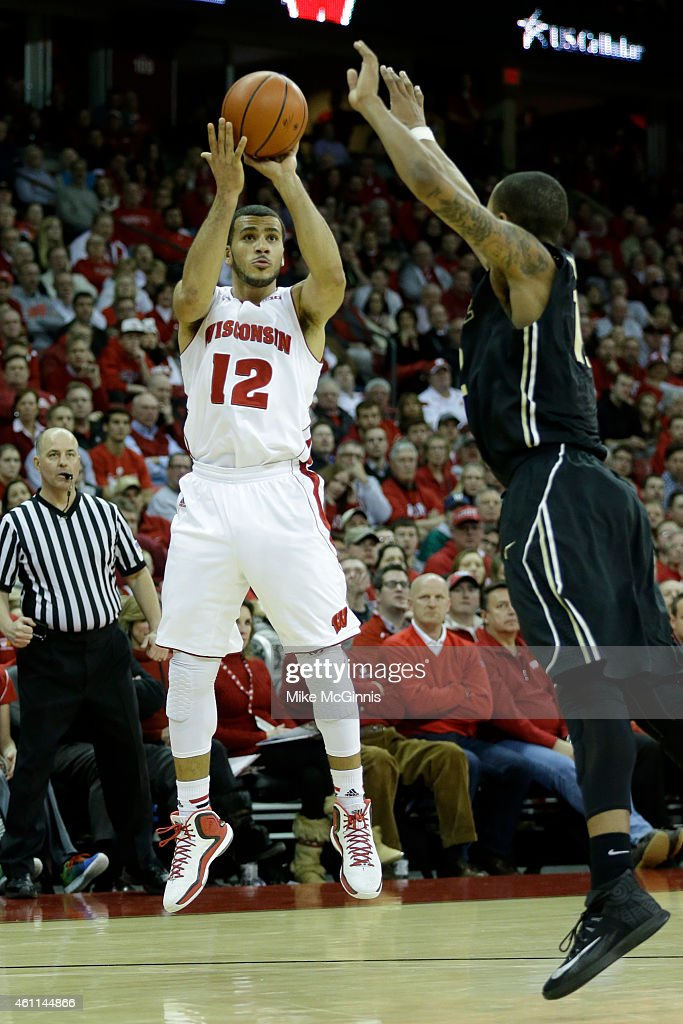 Traevon Jackson shoots a two pointer during the second half against the Purdue Boilermakers at Kohl Center on January 07 2015 in Madison Wisconsin